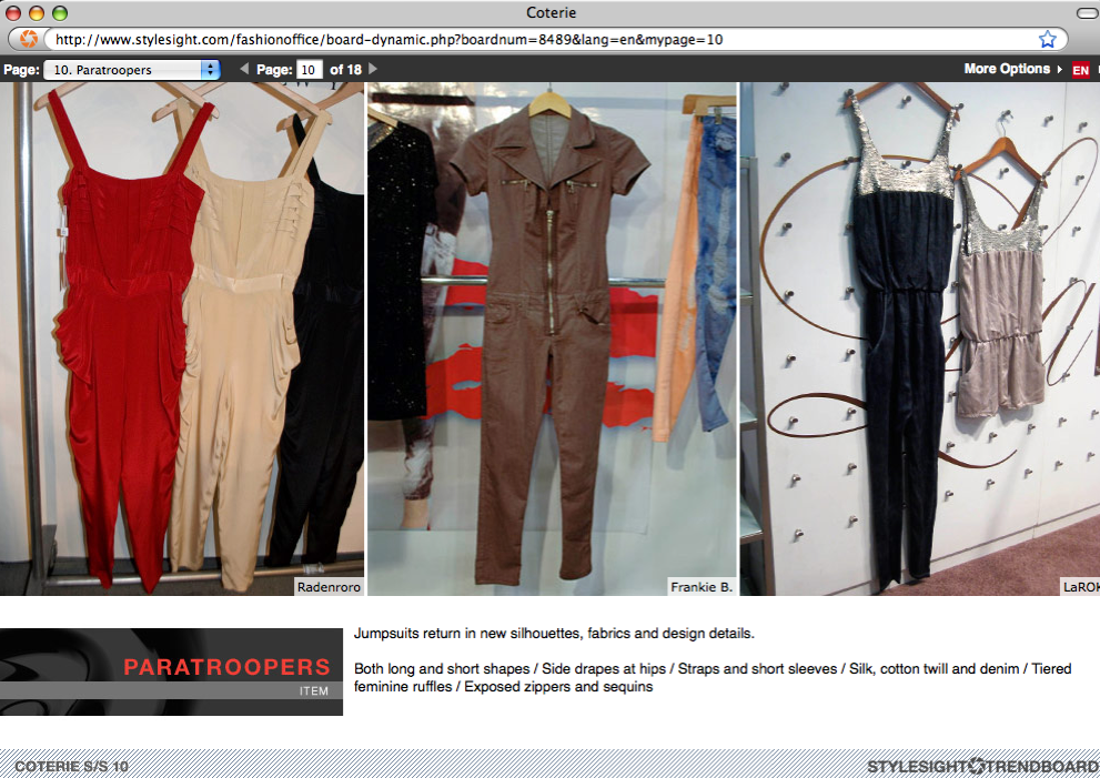Galih jumpsuits in ruby, nude, and black on StyleSight