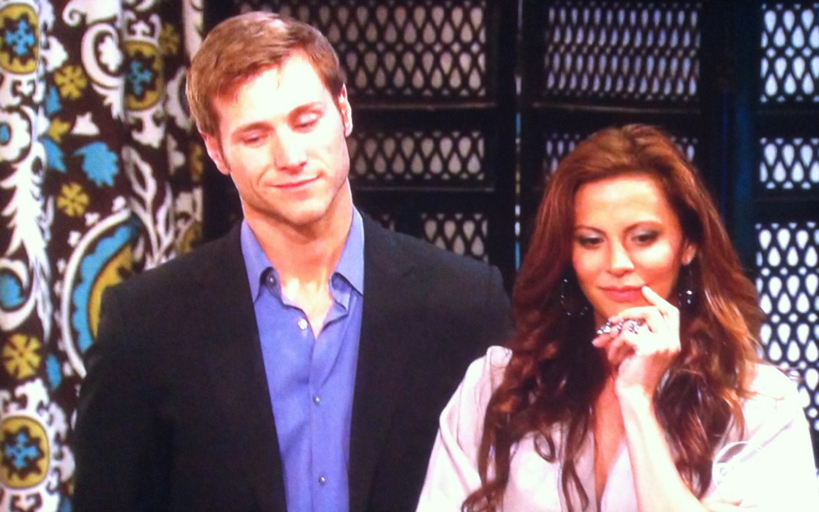 Gia Allemand in the Area dress with Jake Pevelka on The Bachelor Pad