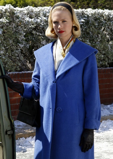 Betty Draper blue coat - January Jones Mad Men
