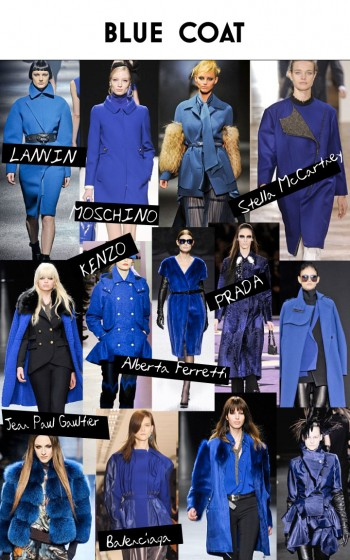 Fall - Winter 2012 Trend - Cobalt Blue Fur Trim Ruffle Collar Coat
