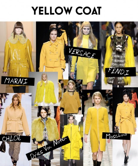 Fall - Winter 2012 Trend - Yellow Ruffle Fur Trim Coat