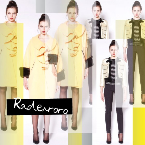 Radenroro fall winter 2012 yellow coat jacket fur trim