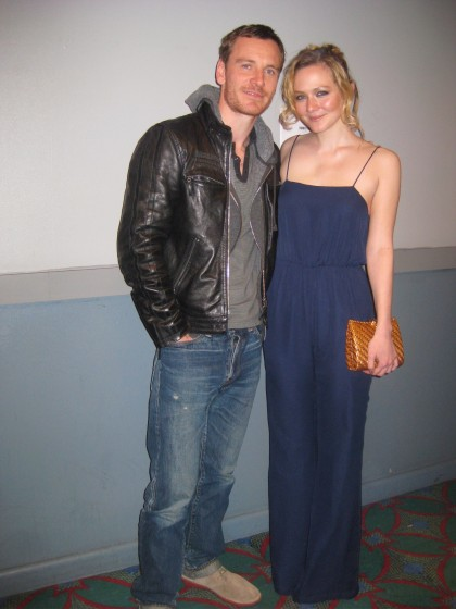 Actor Michael Fassbender with Actress Louisa Krause at Tribeca Film Festival 2012 - Double or Nothing short film and Pitch Black Heist short film