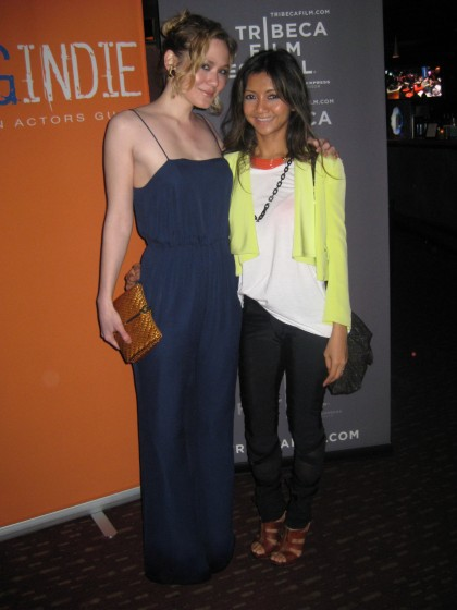 Liquica (designer of RADENRORO) with actress Louisa Krause - Tribeca Filem Festival 2012 Double or Nothing short film