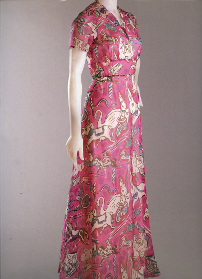 schiaparelli circus printed dress
